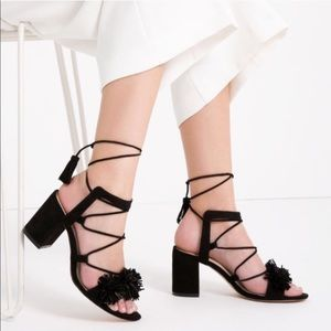 ZARA Suede Pom Pom Tassel Lace Up Sandals